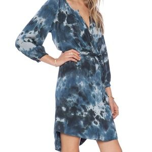 Gypsy 05 Navy Tie Dye Silk Long Sleeve Dress
